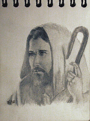 Drawing - Jesus by Rick Fitzsimons