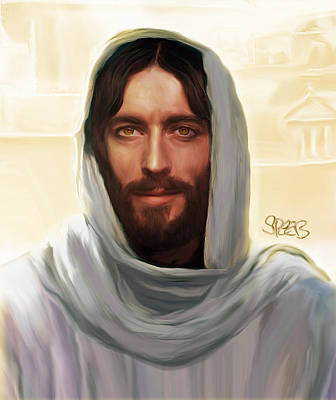 Smiling Jesus Mixed Media - Jesus Smiling by Mark Spears