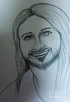 Smiling Jesus Drawing - Jesus Sweet Smile by Esther Rowden