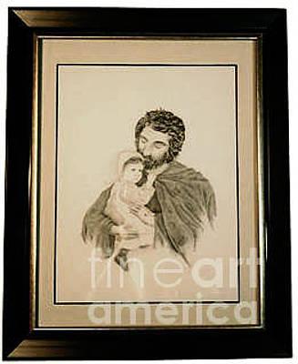 Amish Drawing - Jesus Tender Shepherd by Sarah Moyer