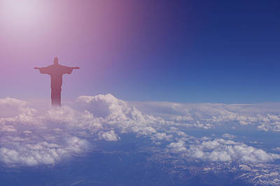 Jesus Walking On Clouds Print by Art Spectrum
