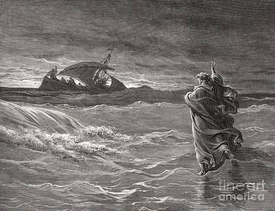 Life Of Christ Drawing - Jesus Walking On The Sea John 6 19 21 by Gustave Dore