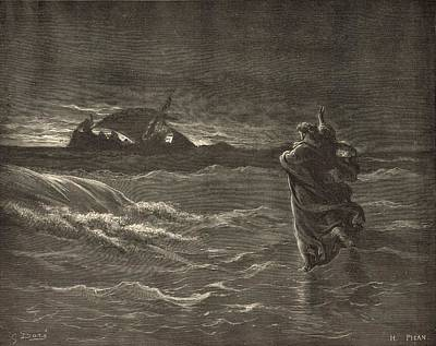 Scriptural Drawing - Jesus Walking On The Water by Antique Engravings