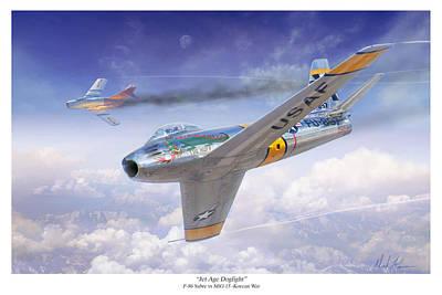 Jet Age Dogfight Original by Mark Karvon