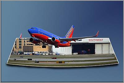 Passenger Plane Digital Art - Jet Chicago Airplanes 12 Out Of Bounds by Thomas Woolworth