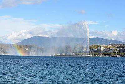 Lake Leman Photograph - Jet D'eau Fountain In Geneva And Lac Leman by Brandon Bourdages