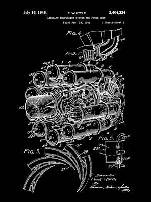 Internal Digital Art - Jet Engine Patent 1941 - Black by Stephen Younts