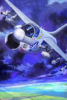 Abstract Airplane Art - Jet Fighter by Jodi Jacobson