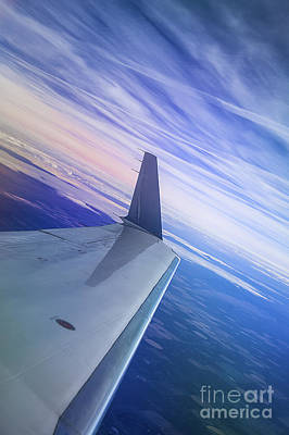 Fine Dining - Jet Plane And Blue Sky With Clouds by Jerry Cowart