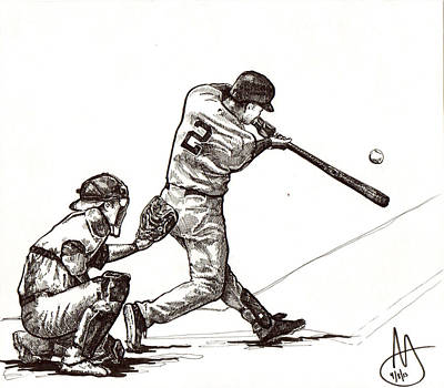Derek Jeter Drawing - Jeter #2 by Joshua Sooter