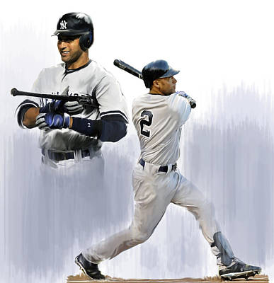 New York Yankees Painting - Jeter V Derek Jeter by Iconic Images Art Gallery David Pucciarelli