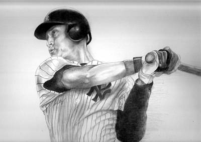 Derek Jeter Drawing - Jeter by Kathleen Kelly Thompson