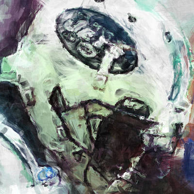 Gridiron Digital Art - Jets Art Abstract by David G Paul