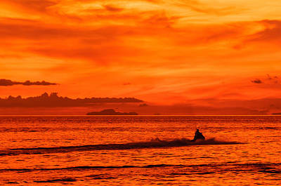 Adjectives Photograph - Jetski Ride Into The Sunset by Colin Utz
