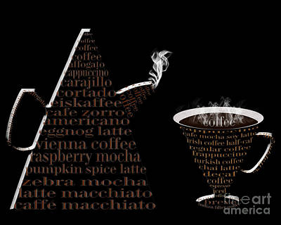 Digital Art - Jetsons Coffee Set Black by Andee Design