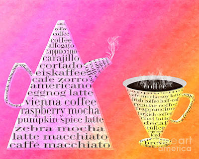 Jetsons Coffee Set Sorbet Art Print by Andee Design