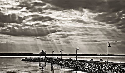 Jetty And Sunrays In Bw Art Print by Greg Jackson
