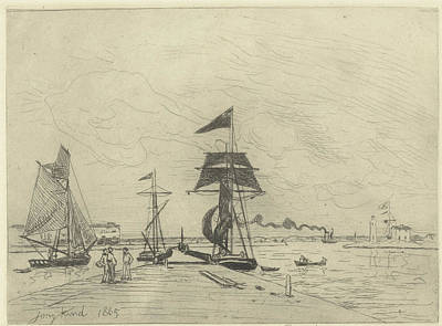 Lighthouse Drawing - Jetty At Honfleur, Johan Barthold Jongkind by Johan Barthold Jongkind