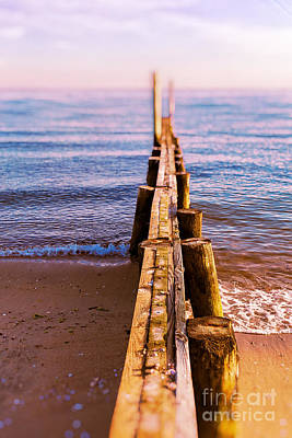 Photograph - Jetty At Sunset Old Saybrook by Edward Fielding
