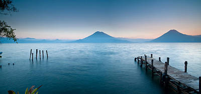 Santa Cruz Pier Photograph - Jetty In A Lake With A Mountain Range by Panoramic Images