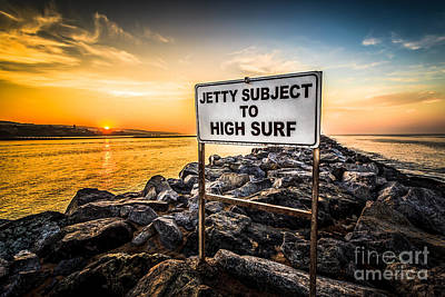 Subject Photograph - Jetty Subject To High Surf Sign In Newport Beach by Paul Velgos