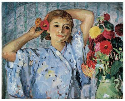 Jeune Femme Aux Fleurs Print by Henri Lebasque