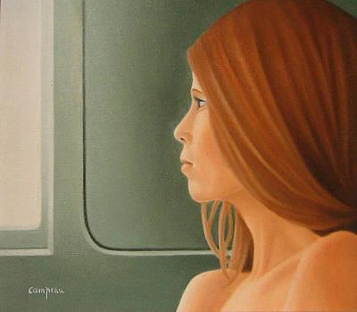Jeune Fille Dans Un Train Art Print by Michel Campeau