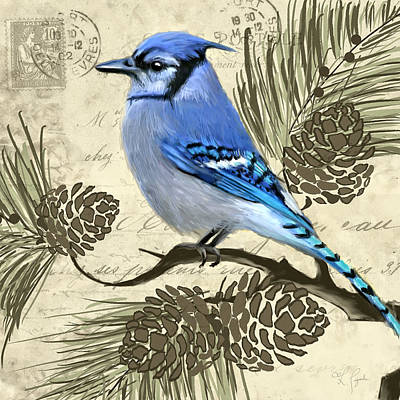 Bluejay Painting - Jeweled Blue by Lourry Legarde