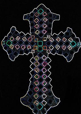 Mosaic Mixed Media - Jeweled Cross Light 2 Dark Version by Lisa Brandel