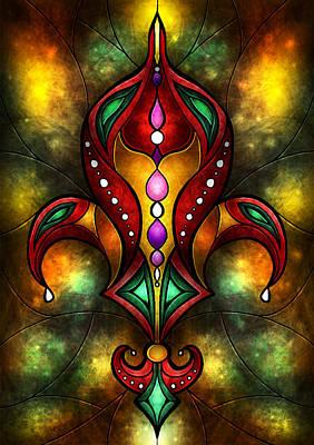 Fleur De Lis Digital Art - Jeweled Fleur De Lis by Mandie Manzano