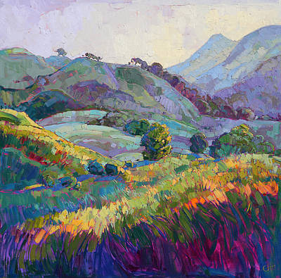 Landscapes Painting - Jeweled Hills by Erin Hanson