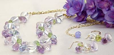 Jeweled Hydrangea Gold-filled Choker Necklace And Matching Earring Set  Original by WDM Gallery