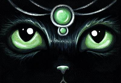 Fantasy Cats Painting - Jeweled Kitty 10 Mint Jade by Elaina  Wagner