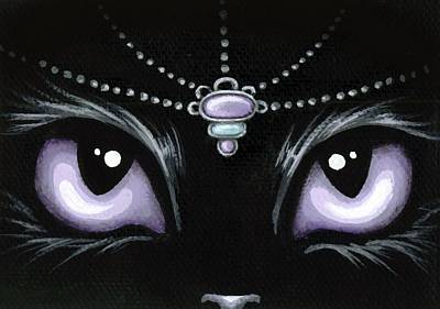 Fantasy Cats Painting - Jeweled Kitty Lilac Topaz by Elaina  Wagner