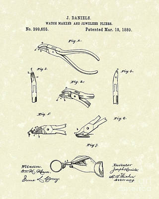 Drawing - Jeweler's Pliers 1889 Patent Art by Prior Art Design