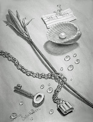 Still Life Drawings - Jewels of Love by Irina Sztukowski