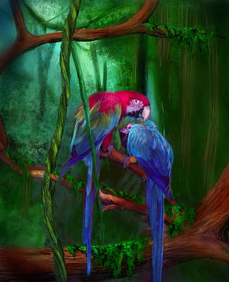 Parrot Art Mixed Media - Jewels Of The Jungle by Carol Cavalaris