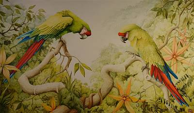 Painting - Jewels Of The Rain Forest  Military Macaws by Charles Owens