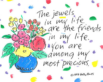 Vase Of Flowers Drawing - Jewels by Sally Huss