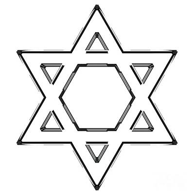 Synagogue Digital Art - Jewish Star Of David - Black Outline Version by Shazam Images