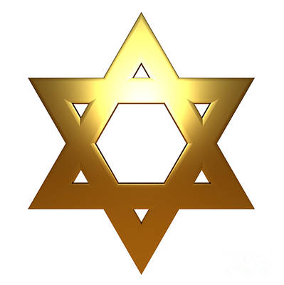 Synagogue Digital Art - Jewish Star Of David - Gold Version by Shazam Images