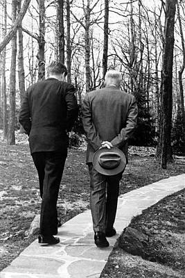 Photograph - Jfk & Eisenhower At Camp David by Underwood Archives