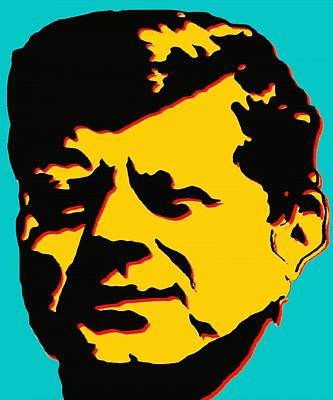 Painting - John F Kennedy - Jfk Blue Yellow Pop Art by Peter Potter