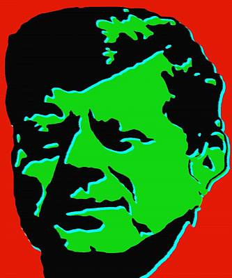 Painting - John F Kennedy - Jfk Red Green Pop Art by Peter Potter