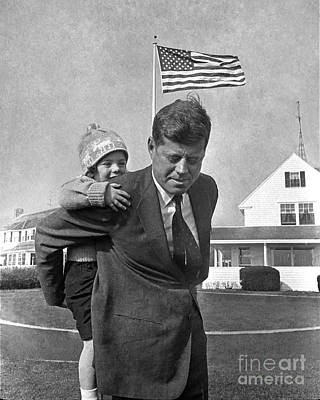 Print featuring the photograph Jfk And Caroline Kennedy 1960 by Martin Konopacki Restoration