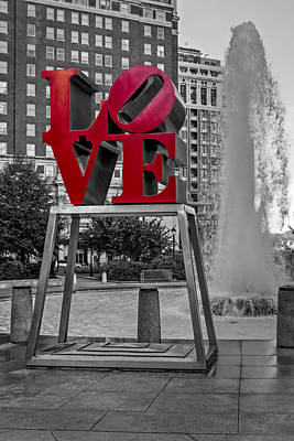 Indiana Landscapes Photograph - Jfk Plaza Love Park Bw I by Susan Candelario