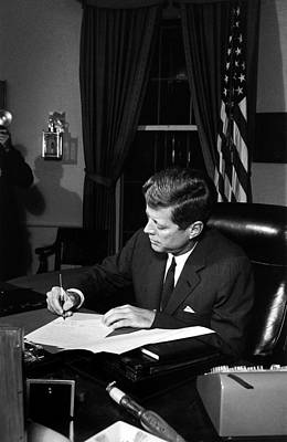 Jfk Signing The Cuba Quarantine Art Print by War Is Hell Store