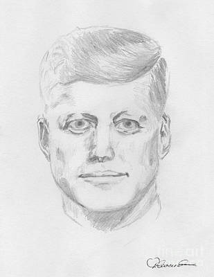 Grayscale Drawing - JFK by Torbjorn Swenelius
