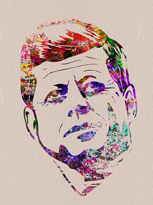 Jfk Watercolor Print by Naxart Studio