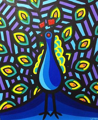 Peacock Poster Painting - Jillian's Peacock by John  Nolan